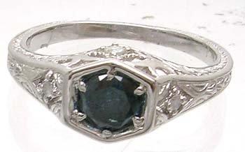 2391: 14KW .50ct Blue Diamond Hexagon Vintage Style Rin