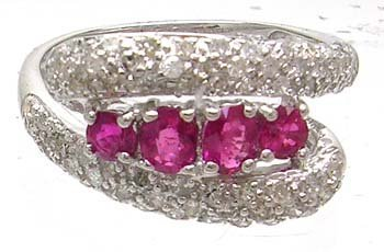 2655: 14KW .50cttw ruby 5 oval .50ct Diamond ring