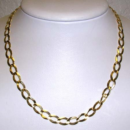 2662: 14KY Italian flat dia cut curb link necklace 19gr