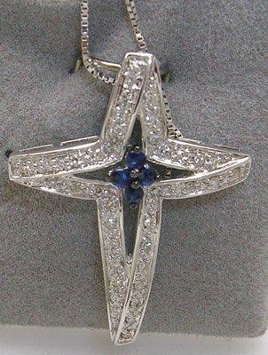 2825: 14KW .13 Blue Sapphire & .16 Diamond Cross Pendan