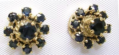 2827: 14KY Vintage 2ct Sapphire Round Flower Earring