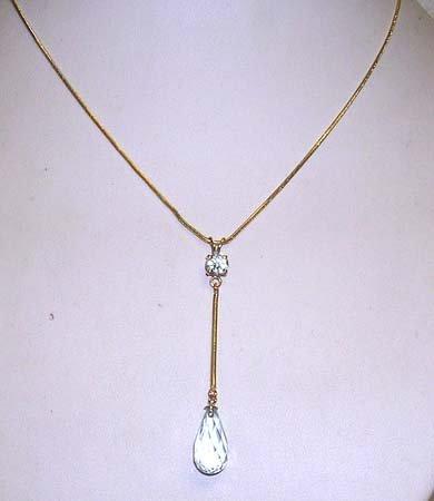2839: 14KY BlueTopaz Briolette Round dangle necklace