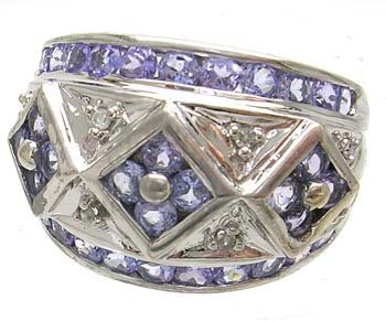 2841: 14KW Tanzanite Round Diamond Band