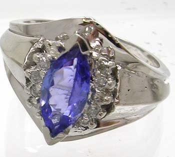 2843: 14WG 1.05ct Tanzanite Marquise .16 Diamond Ring