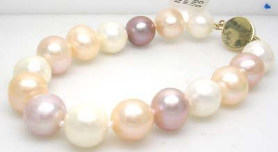 3378: 14KY 10/11mm White Pink Pearl Bracelet