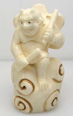 3010: 1900s Signed Hand Carved Ivory Netsuke Demon Drum