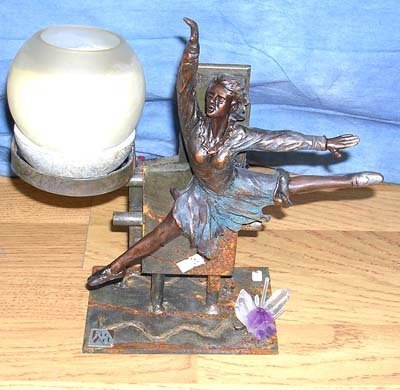 3012: Ric Art Bronze of Ballerina with Candle