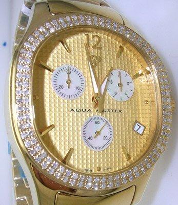 3716: Aqua Master1.5ct Dia Gold Round Dial Watch