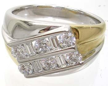 3760: 14KW HUGE 2-tone 1.02cttw Diamond Mens Ring 15gm