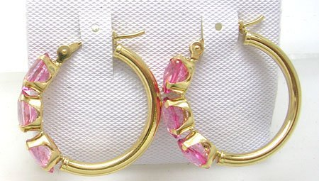 3825: 14KY 3.42cttw Pink Topaz Oval Hoop Earrings