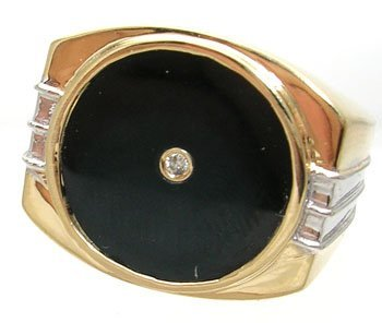 3833: 14KY Onyx Circle Diamond Mens Double-Ribbed