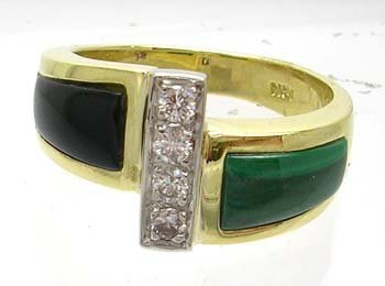 3834: 18KY Malachite Onyx Diamond Ring