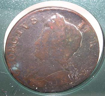 3845: Revolutionary War Relics-1753 George II Penny