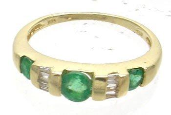 378: 10KY .50ct Emerald Round .15ct Diamond Bagg Ring