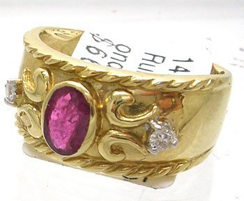 380: 14KY .65ct Ruby Oval Diamond Etruscan Style Ring