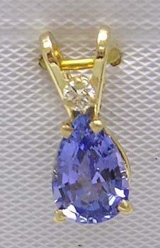 381: 14KY .75ct Tanzanite pear Diamond Pendant