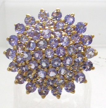 383: 14KY 4cttw Tanzanite Round Cluster Ring
