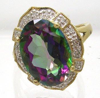 385: 14KY 7ct Mystic Fire Topaz .08ct Diamond Ring