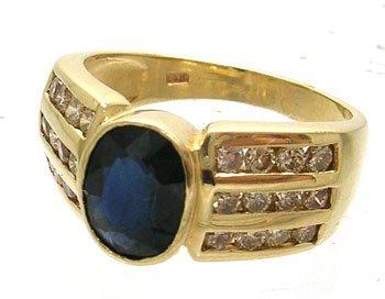 388: 14KY 1.50ct Blue Sapphire .63ct Diamond Ring