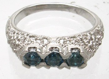 390: 14KW .50ct Blue Diamond Triple Round Vintage Style
