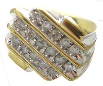 391: 10KY 2-tone 1cttw Diamond Round channel Mens Ring