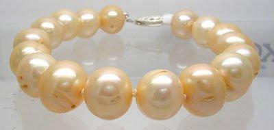 400: SSilver HUGE 10/11mm Golden Pearl Bracelet