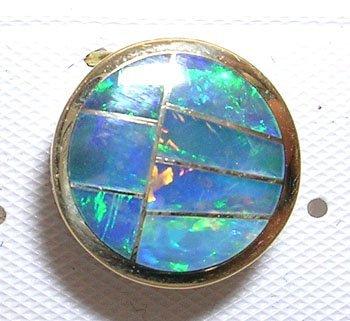 402: 14KY Boulder Opal Inlay Round Slide Pendant