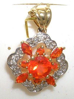 403: 10KY Fire Opal Diamond Pendant w/ chain