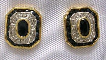627: 14KY 1.75cttw Sapphire oval dia stud earring