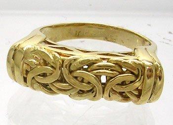 628: 18KY Italian byzantine style woven band ring