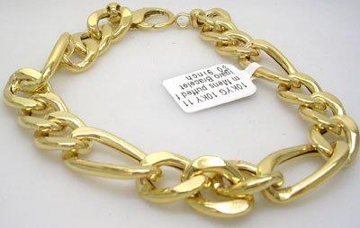 630: 10KY 11.5mm Mens puffed figaro Bracelet 15gram