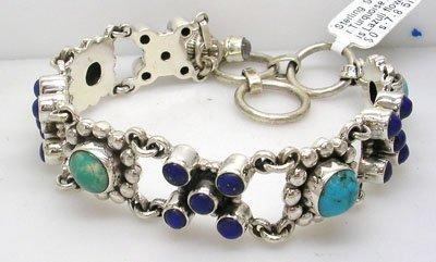 634: SSilver Turquoise Lapis Lazuli flower bracelet