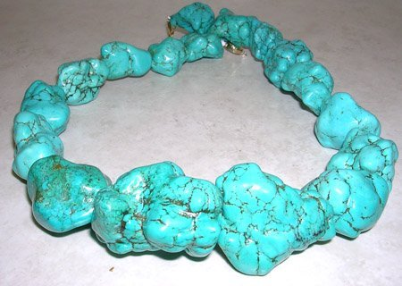 635: S silver Chunky Turquoise Necklace 20 inches