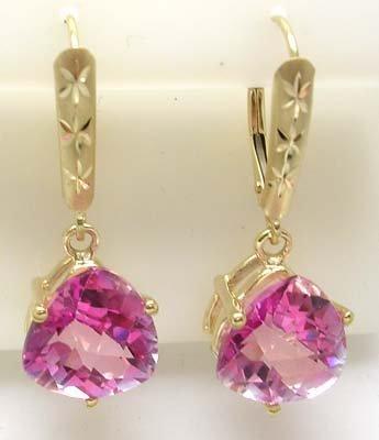 637: 14KY 8ct Pink Topaz Trillion Cut Drop Earrings