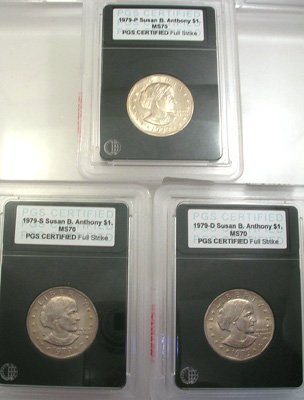 640: 1979 $1 Susan B. Anthony Dollar PGS cert 3 coin