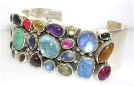 677: Sterling Silver Multi Gem 3 row Cuff Bracelet