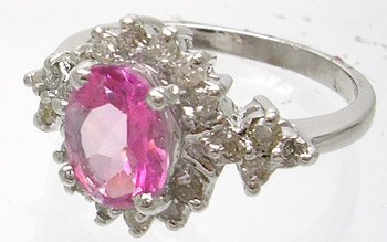 826: 14KW 1.54ct Pink Topaz Oval .40ct Diamond Ring