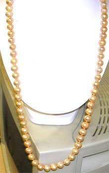 831: SSilver HUGE 10/11mm Golden Pearl 30in Necklace