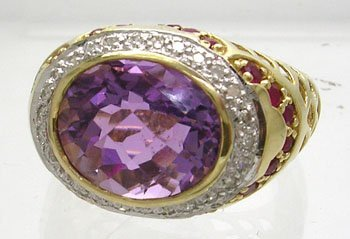 834: 10KY 5ct Amethyst Checkerboard Ruby .16ct Dia Ring