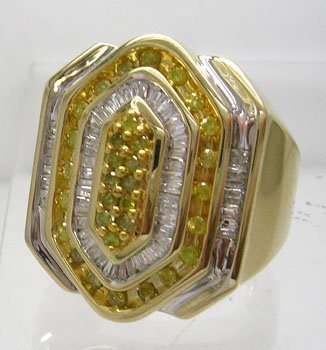 841: 10KY 1cttw White and Yellow Diamond Octagon Mens R