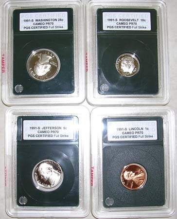 845: 1991-S CERTIFIED SLABBED PROOF CAMEO PR70 4 C