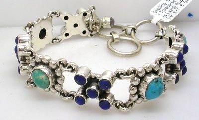 1003A:  SSilver Turquoise Lapis Lazuli flower bracelet