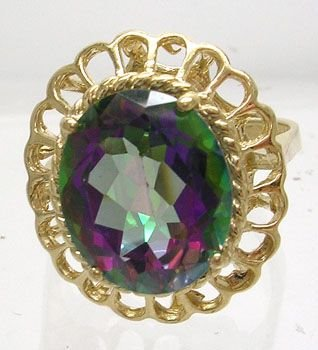 1005A: 14KY 5ct Mystic Topaz Oval scalloped Ring
