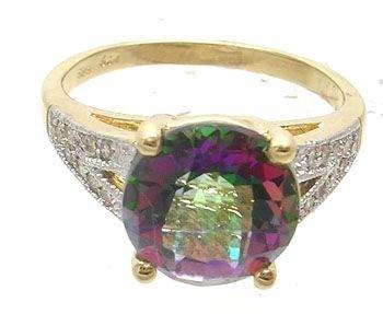 1006A: 14KY 3.29ct Mystic Topaz .13ct Diamond Ring