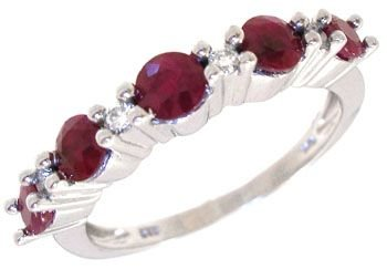 1009A: 14KW 1cttw Ruby & diamond band ring