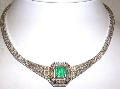 1114A: 14KW 2.8ct Emerald Pear 7.25ct Diamond Necklace