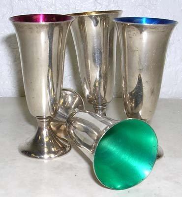 1104: 4 Vintage Gorham Sterling Silver Cordial Glasses