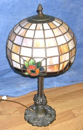 1109: Old Leaded Stained Glass Lamp with Flowers
