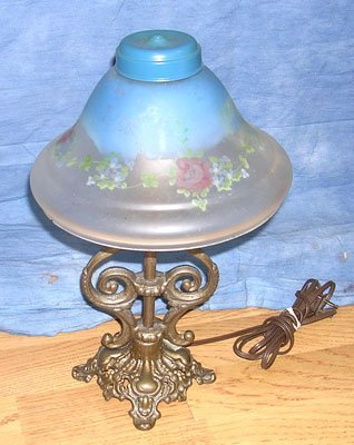 1111: Estate Electric Lamp with Reverse Hand Painted Sh