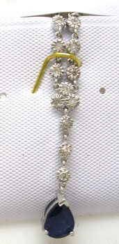 1626: 14KW .90ct Sapphire Pear .16ct Diamond Necklace